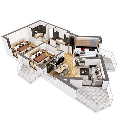 Plan 3d Apartament Herastrau Parkview Tip g 3 camere