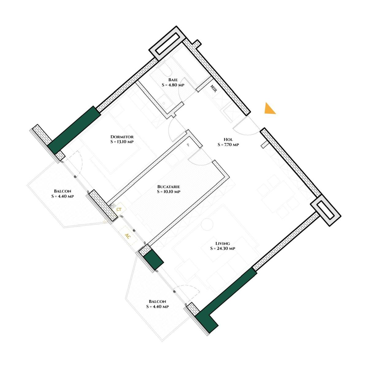 Plan 2d Apartament Herastrau Parkview - 2 camere Tip B