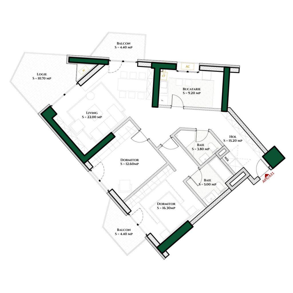 Plan 2d Apartament Herastrau Parkview Tip A 3 camere 2