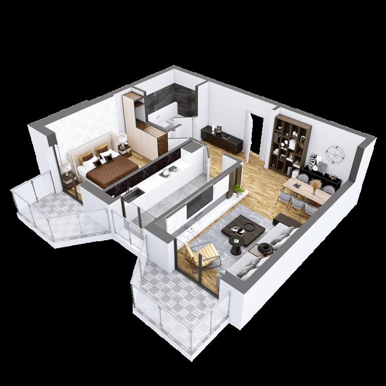 Plan 3D Apartament Herastrau Parkview - camere Tip B