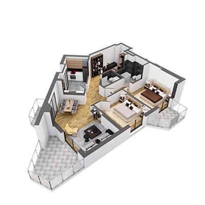 Plan 3d Apartament Herastrau Parkview Tip A3 camere