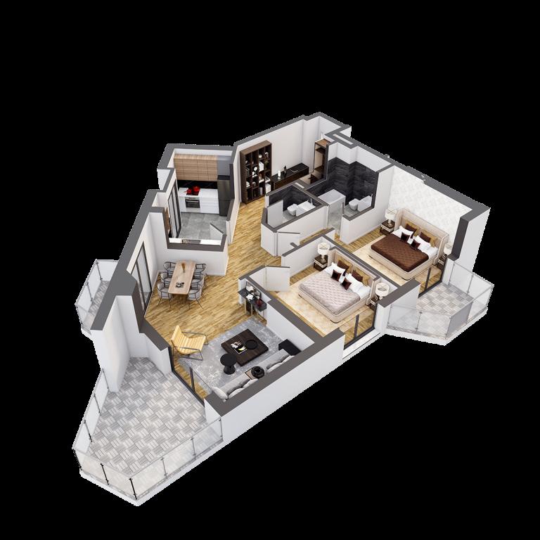 Plan 3d Apartament Herastrau Parkview Tip A 3 camere (2)