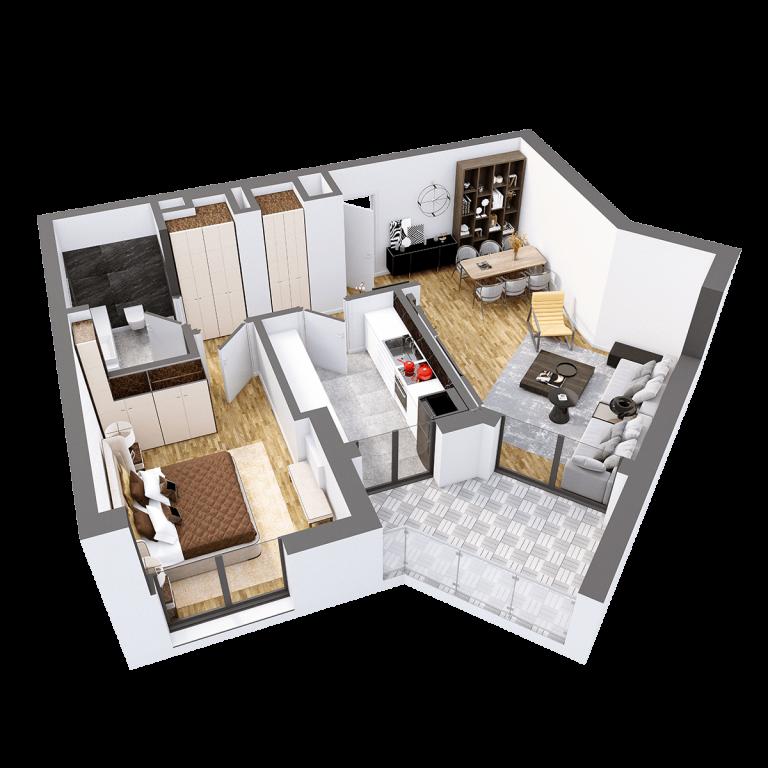 Plan 3d Apartament Herastrau Parkview Tip i camere