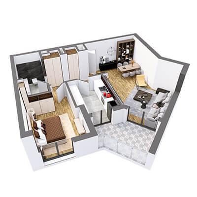 Plan 3d Apartament Herastrau Parkview Tip E 2 camere