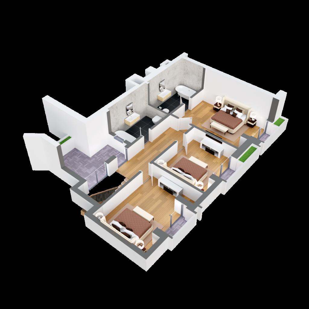 Duplex 4d6 plan 3d etaj