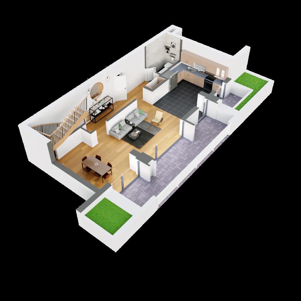 Duplex 4d6 plan 3d parter
